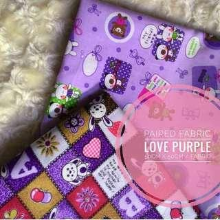 Kain perca uk. 50x50cm purple love
