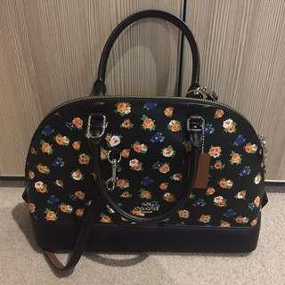 Authentic NWT Coach F57629 Margot Carryall In Tea Rose Floral Print Black Handbag [Limited Edition]