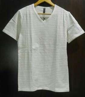 Mens korean style striped slim fit v neck t shirt