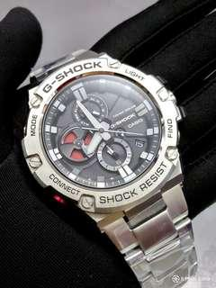 * FREE DELIVERY * Brand New 100% Authentic Casio GShock Gsteel Bluetooth Mens Formal , Casual Watch with Metal.Bracelet GST-B100D-1ADR GSTB100D