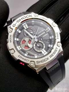 * FREE DELIVERY * Brand New 100% Authentic Casio GShock GSteel Bluetooth Black Dial & Red Trims Mens Casual Watch paired with Rubber Strap GST-B100-1ADR GSTB100