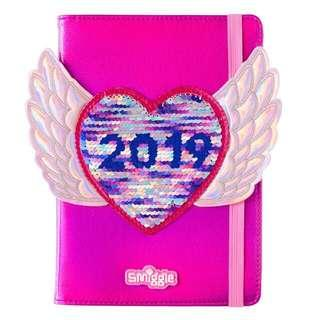 Smiggle Notebook Fly Away 2019 A5 Weekly Monthly Planner in Pink Sequins Cover