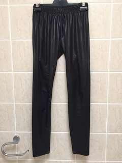 Black Leather look leggings pants