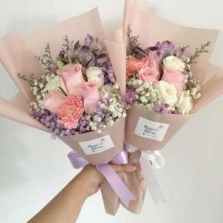 Fresh Flower Bouquet in Pink Roses with Mix Flowers / Birthday Bouquet