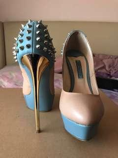 Blue, Nude & Silver Spiked Tony Bianco Stilettos