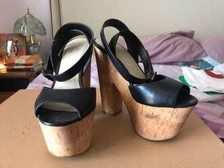 Wittner Black Cork Heels - Size (36 | 5)