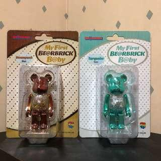 Bearbrick 100% First Baby Chrome 電鍍 set Bear Be@rbrick Toy Figure Art Trendy Brand Design Rabbrick R@bbrick Nyabrick Ny@brick 模型 擺設 收藏品 名牌 潮流 玩具 禮物 生日禮物