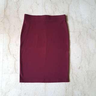 F21 Midi Oxblood Pencil Skirt