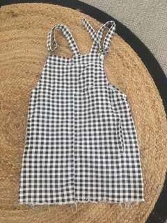 Denim checkered dress