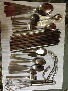 Bundle of cutlery, spoon, fork