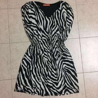 Zehra Stripes Black White Dress