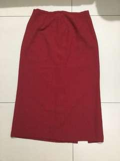 Long suede red skirt