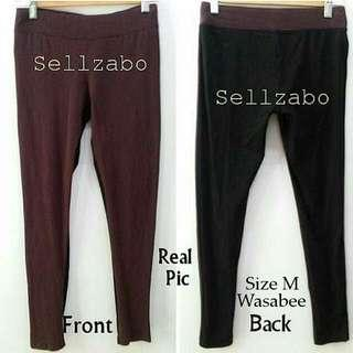 8/10 Worn Size M Wasabees 2-Tone Long Pants Casual Comfortable Relax Tights Leggings Trousers Sellzabo Wear Ladies Girls Women Female Lady Design Style Plain Maroon/Black Colour