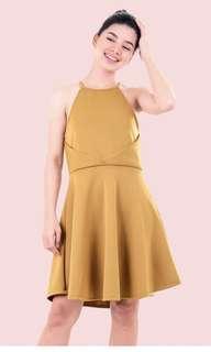 HTP Mustard Halter Skater Dress