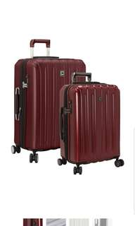 """Delsey Helium Titanium Two 2 Piece Hardside Spinner Set 21"""" 25"""" 21 Inch 25 inch Suitcase Luggage 8 Wheel wheeled Cherry Red Only"""