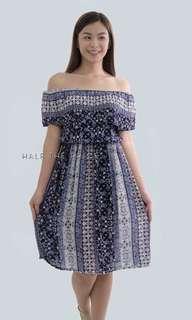 HTP Blue Printed Challis Off-Shoulder Dress