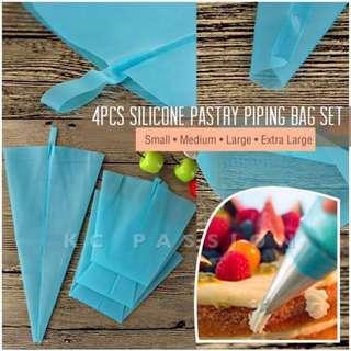 🎂 4PCS SILICONE PASTRY • PIPING • ICING BAG SET [Small • Medium • Large •Extra Large]