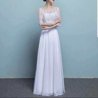 White mesh back elegant dress / evening gown / Wedding Gown