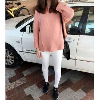 藕粉厚實針織毛衣