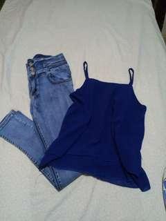High waist pants w/sleeveless