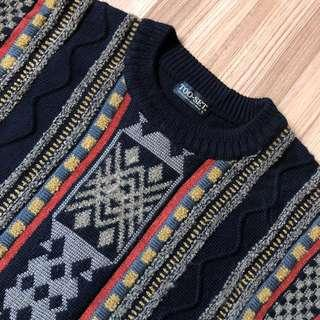 🚚 🇯🇵【MOSAIC VINT】日本製稀有雙面立體花紋hipster古著毛衣