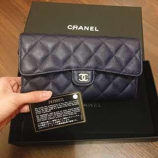 Chanel 牛皮深藍長夾