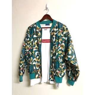 🚚 Bovattin風衣飛行員夾克 深青色金鍊打印轉輪圖騰棒球外套 古著復古 潮牌 Vintage個性男友風外套