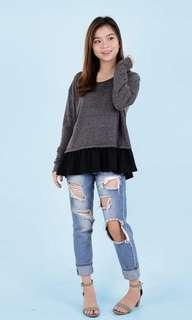 HTP Grey Knit Korean Peplum Combi Pullover
