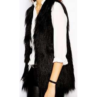 Black Faux Fur Vest - Size M-L (10/12)