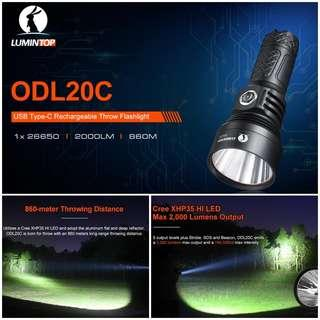 (2,000 Lumens, 860 Meters Throw) Lumintop ODL20C Long Throw Flashlight/Searchlight_USB Rechargeable