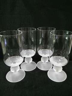 Vintage frosted Clam Footed Glasses