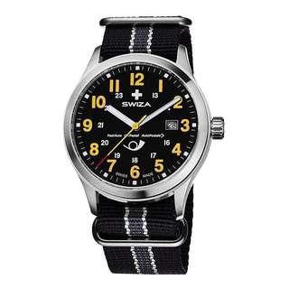 SWIZA瑞莎 瑞士手錶男表正品防水夜光手錶 石英錶皮帶 織帶男士腕錶 WAT.0251.1011