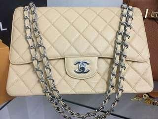 SALE TODAY CHANEL FLAP CAVIAR BEIGE 30CM COMPLETE WITH BOX