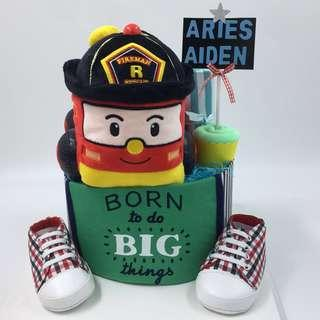 Fireman theme  Baby Diapers Cake