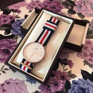 NEW Daniel Wellington 36mm Rose Gold Watch NATO Strap, Classic Canterbury
