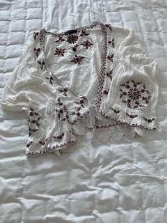 embroidered blouse 刺繡白色外套