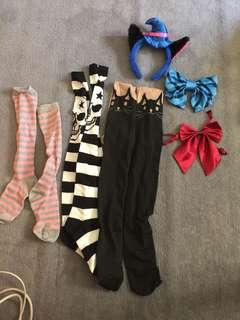 Cosplay props, tops, socks