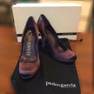 """Pedro Garcia Plum Satin Platform """"Vera"""" Pumps"""