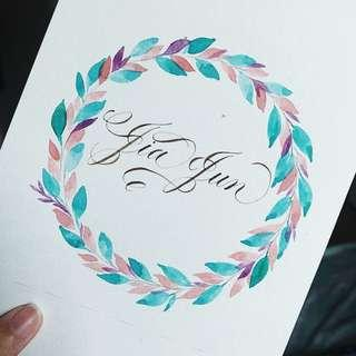 Floral wreath with messages/quotes/wishes