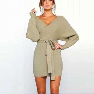 [PO] Wrap Knit Off Shoulder Dress