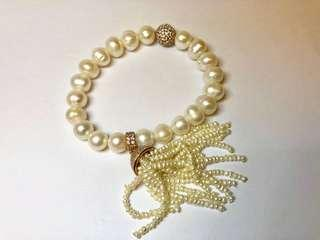 Bracelet pearl and silver