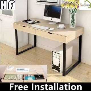 Study table/Double drawer table/858S Light Wooden