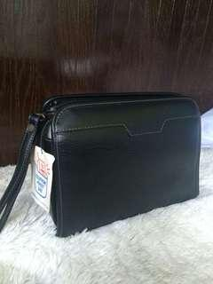 POUCH /CLUTCH (LEATHER/NYLON)WITH CELLPHONE POCKET