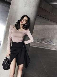 Pink square neck top