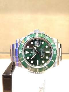 """Pre Owned Rolex Oyster Submariner 116610LV """"Hulk"""" Green Dial Automatic Steel Casing Bracelet"""