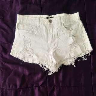 White jean denim shorts distressed