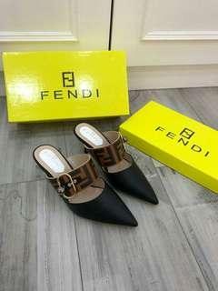 F*ND* Logo Print Slides Heels 18339-39  (06)*
