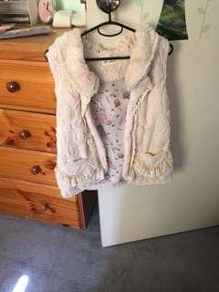 Cute beige fluffy outerwear