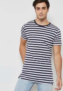 co striped longline tee shirt