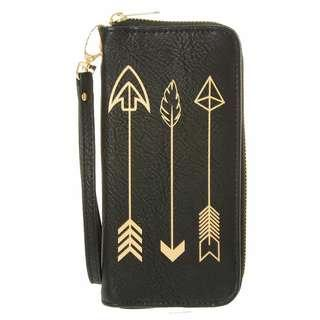 Claire's Authentic Triple Gold Arrow Wristlet/Purse/Wallet